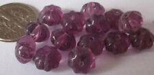 75 Vintage Czech Glass Puffy Amethyst Purple Flower Rondelle Beads 9mm x 6mm