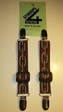STIRRUPS 4 BIKERS....CHAIN  .. MOTORCYCLE RIDER PANT CLIPS BUNGEE CLAMPS