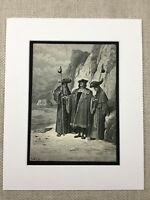 The Oyster Pleaders La Fontaine Fables Story Book Art Engraving Antique Print