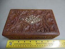 Vtg Antique Hand Carved Wood Box Intricate Carving Inlay Jewelry FOLK TRAMP ART?