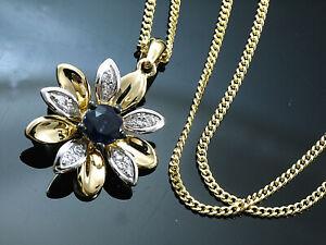 585 Goldkette mit Blumen Diamant und Saphir Anhänger in Größe 20 mm x 13 mm