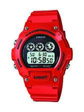 Casio Mens Quartz Illuminator Black Digital Dial Red Resin 45Mm Watch W214hc-4Av