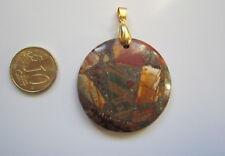Colgante jaspe picasso 41 mm colgador dorado piedra sedimentaria abalorios