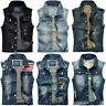 Men's Denim Vest Jean Jacket Waistcoat Sleeveless Slim Casual Jacket Coat