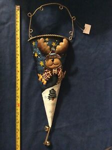 Holiday Christmas Winter Door Wall Hanging Decoration Cone Shaped w/ Holder, New