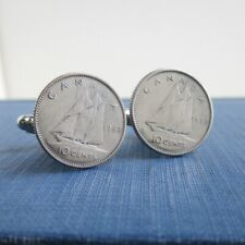 CANADA .800 Silver Coin Cuff Links - Repurposed Vintage Canadian Bluenose Dimes
