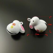 10 Pieces White Color Copper Metal Rabbit Jingle Bell Charms Pendant 22*18*13mm