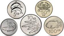 SALE ICELAND 5 COINS SET 1, 5, 10, 50, 100 KRONUR UNC