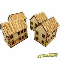 TTCombat - World War Scenics  - Townhouse Set, great for Flames of War TANKS!