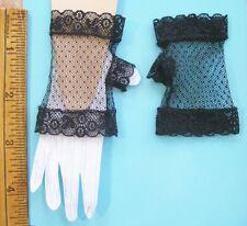 Antique BLACK  D' Esprit Cotton Lace DOLL  FINGERLESS GLOVES~ Large Fashion Doll