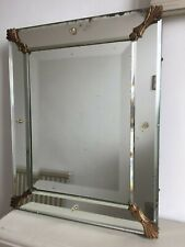 19thC Antique French Frameless Venetian Mirror c.1850 Original Back 47x38cm m211