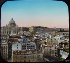 HAND COLOURED Glass Magic Lantern Slide ROME GENERAL VIEW C1890 ITALY ROMA PHOTO