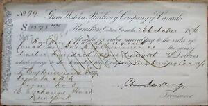 Great Western Railway Co. of Canada 1876 Railroad Bank Check - Hamilton, Ontario