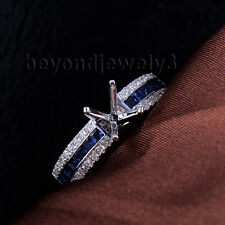14K White Solid Gold Princess Sapphire Diamond Semi mount Wedding Ring Round 8mm