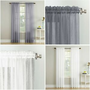Single Plain Crushed Voile Curtain Sheer Panels Slot Top Heading - Free Postage