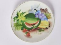Vintage Japanese Hand Painted Miniature Wall Plate, Tropical Wall Hanging Plate