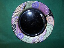 Arcoroc ~ Tampico ~ Black With Geometric Design ~ Dinner Plate 10 5/8""