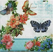FLOWERS & BUTTERFLIES 4 single COCKTAIL SIZE paper napkins for decoupage 3-ply