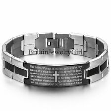 Mens Stainless Steel Black Cross Silver English Bible Lords Prayer Link Bracelet