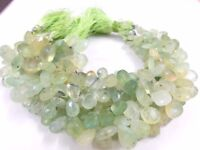 """201Cts STRAND PREHNITE PEAR ALMOND BRIOLETTE FACETED 8X12-11x15 MM, 7.5"""" BEADS"""
