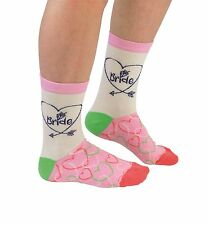 Cockney Spaniel Socks Bride Cotton Hearts Colourful Pink White Cozy Wedding Gift