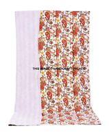 Indien Blanc Imprimé Paisley Set Coton Couvre-Lit Literie Décor Couverture