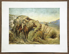 """FREDERIC REMINGTON """"THE APACHE"""" VINTAGE LITHOGRAPH ART PRINT FROM THE 1970'S"""