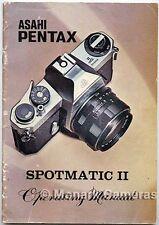 Pentax Spotmatic II manuale di istruzioni più Fotocamera operativo guide libri elencati