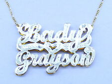 PERSONALIZED DOUBLE TWO 2 NAMES PLATE NECKLACE CHAIN RG