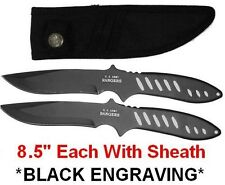 """2pc 8.5"""" Stealth Black Army Rangers Throwing Knives throwers knife blades C83b"""