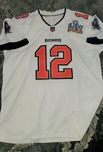 Tampa Bay Buccaneers #12 Tom Brady White Away SB55 Patch Jersey Men's Size XL