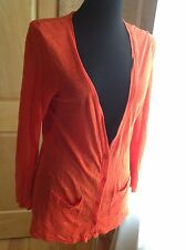 J. Crew Cardigan Woman Small Long Layer Linen Orange Slouch Boyfriend Sweater