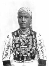 ETHIOPIA. Abyssinia. An Abyssinian Woman;embroidered silk shirt & jewellery 1900
