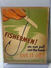 1930s PENNA ART WPA POSTER,RARE PA FISH COMMISSION HARRISBURG PA WPA POSTER