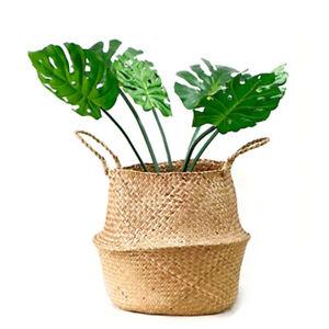 Seagrass Belly Basket Flower Plant Woven Storage Wicker Basket Pot Home Decor UK