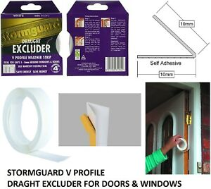 Stormguard 5m Self Adeshive V Seal White Tape Draught Excluder Doors Windows 844