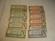 Bank Of Canada currency / note lot 1954 $1 $2 $5   / $24 face