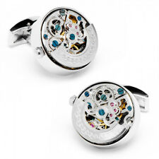 New Silver Stainless Steel Kinetic Working Watch Movement Cufflinks cuff links
