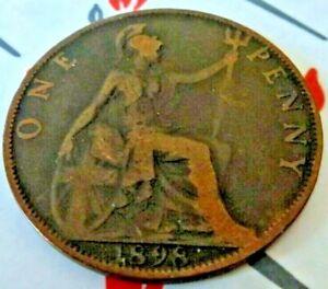 1898 PENNY, BRITISH COIN FROM VICTORIA IN FINE GRADE (CB35)