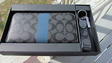 NEW COACH wallet key chain fob 64479 gift box signature gray $295 accordion blue