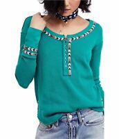 Free People Womens Embroidered Thermal Henley Shirt