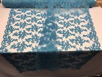 Floral - Flower Mesh Embroidered Lace Fabric By The Yard Bridal Veil Turquiose