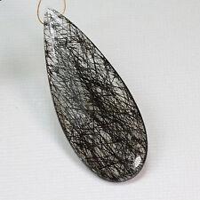 43.3CT Black Rutilated Quartz Faceted Pear Briolette Focal Bead