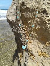 Lucky Brand Turquoise Pendant Layered Necklace Statement Semi Precious Stone $79
