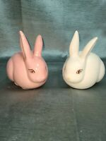 Pair Vintage Prestige Porcelain Rabbit Bunny Cotton Tail Ball Dispenser Taiwan