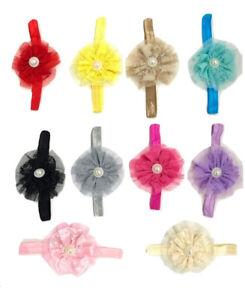 BabyGirl flower floral elastic headband pearl accessory 12 colours head band 061
