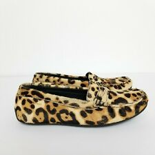 Sebago Womens Lucerne Leopard Calfhair Leather Loafer Flats Boat Shoes 7