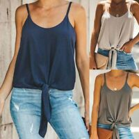 Women Casual Front Tie Knot Cropped Tank Top Sleeveless Blouse Cami Vest T Shirt