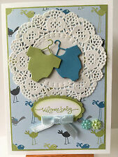 Handmade Baby Boy card with baby suits. Blue/green.