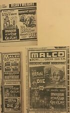 3 1962 newspaper ads for movies Brain That Wouldn't Die, Invasion Star Creatures